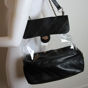 Handbags - NWT Black Faux Leather & PVC Crossbody Backpack